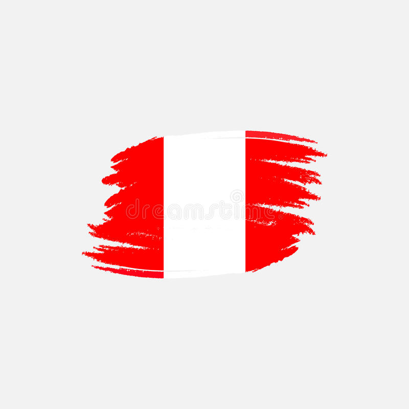 Vector flag of Peru. Vector illustration for Peruvian National Day. Peruvian flag in trendy grunge style. Design vector illustration