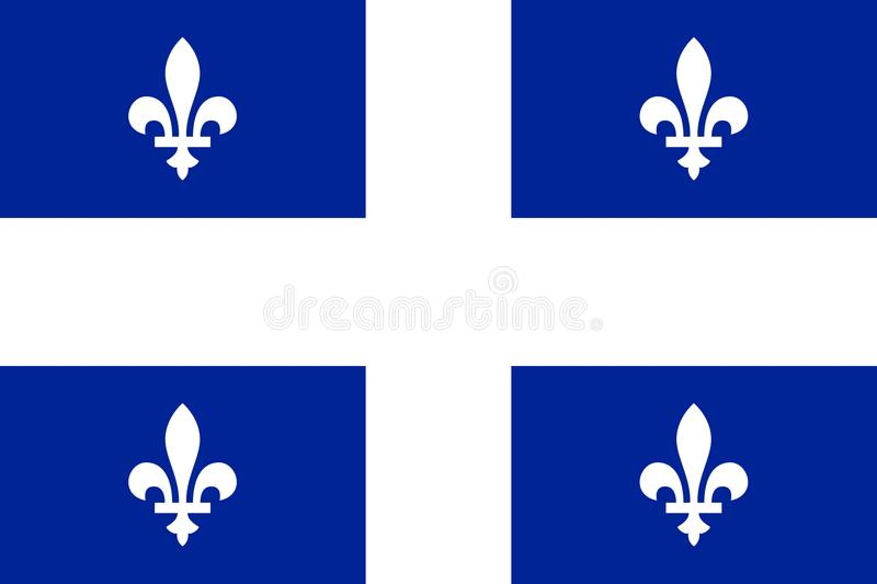 Vector flag of Quebec province Canada.Calgary, Edmonton. Vector flag of Quebec province Canada. Montreal, Quebec, Laval vector illustration
