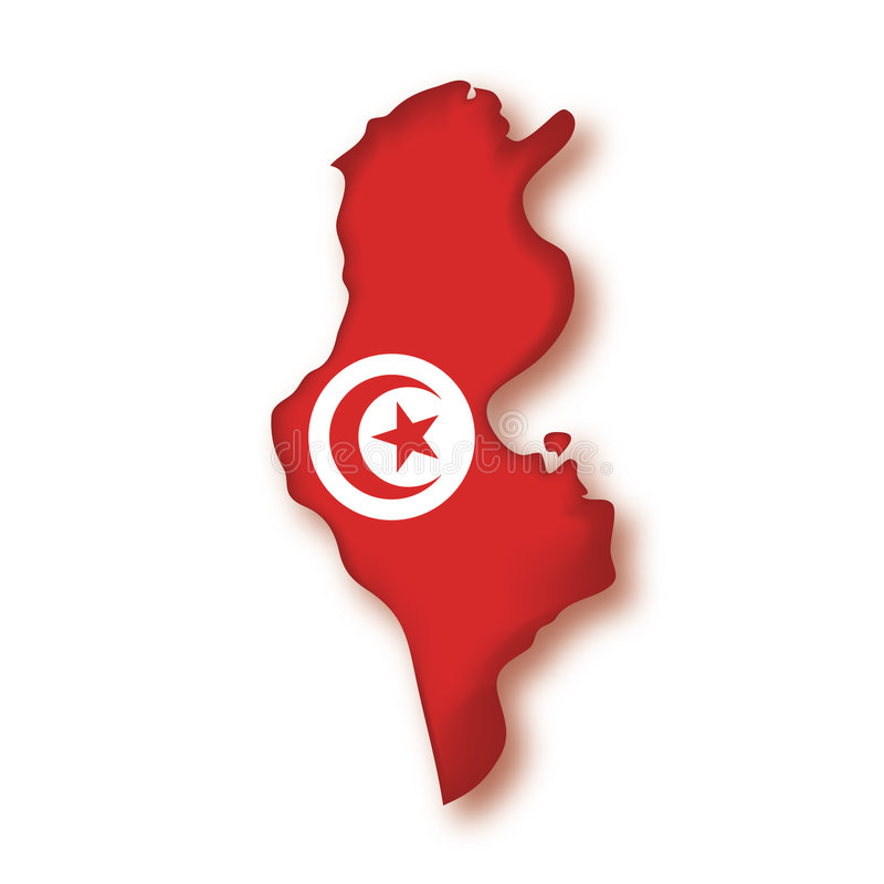 Vector Flag Tunisia. The map and the flag of Tunisia stock illustration