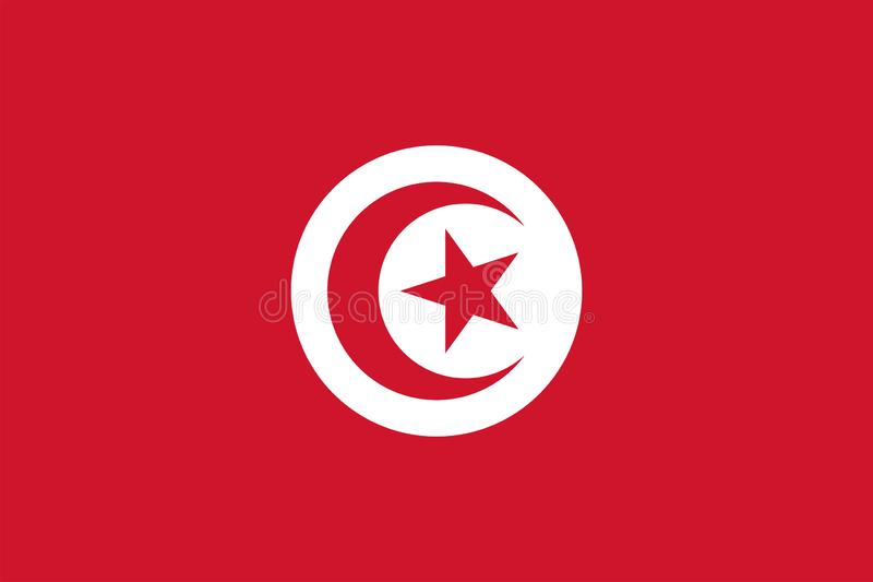 Vector flag of Tunisia. Proportion 2:3. Tunisian national flag. Republic of Tunisia. stock illustration