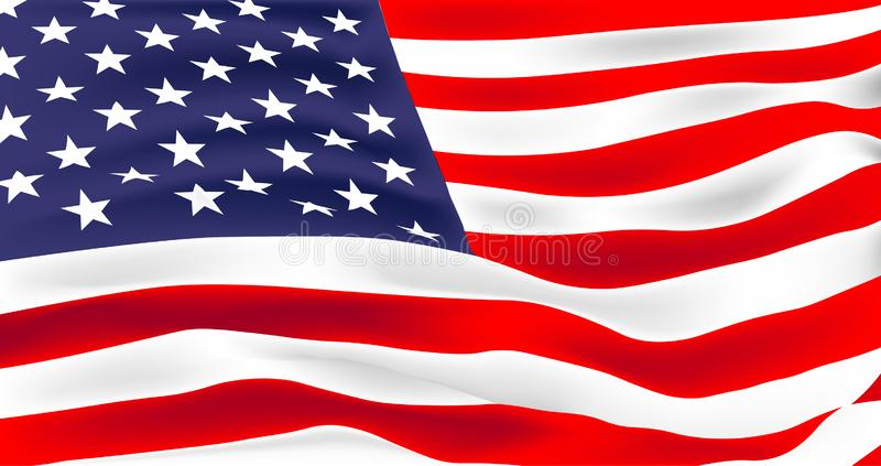 US flag waving vector illustration. Vector flag of United States of America. Waving flag of USA, vector illustration royalty free illustration