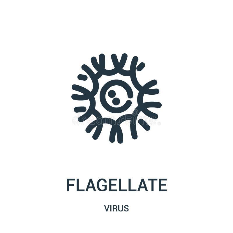 vector flagelado del icono de la colección del virus Línea fina ejemplo flagelado del vector del icono del esquema stock de ilustración