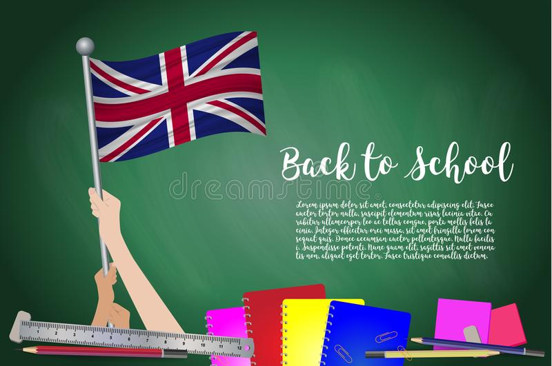 Vector Flagge von Vereinigtem Königreich auf schwarzem Tafelhintergrund Bildungs-Hintergrund mit Handdem halten der BRITISCHEN Fl stock abbildung