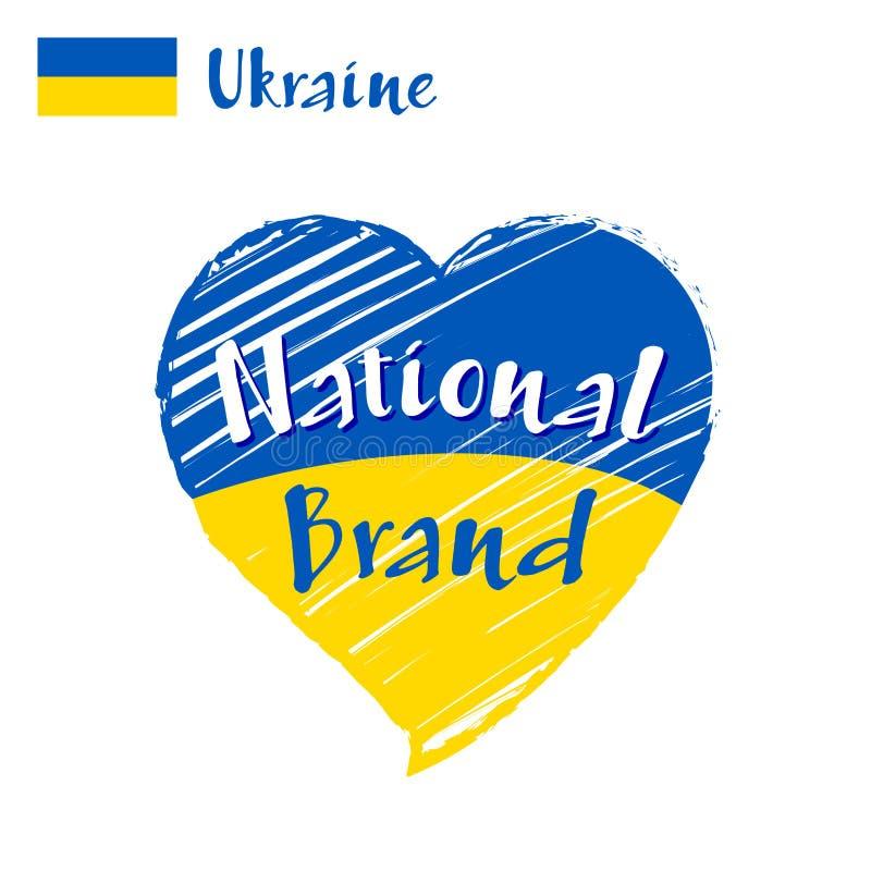 Vector Flaggenherz von Ukraine, nationale Marke stockfoto