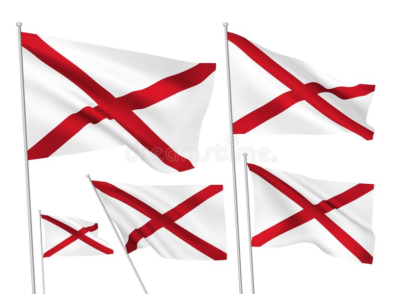 Vector flags of Alabama state. Alabama state vector flags set. 5 wavy 3D pennants fluttering on the wind. EPS 8 created using gradient meshes isolated on white stock illustration