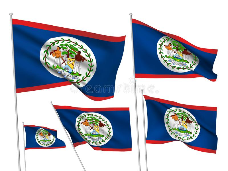 Vector flags of Belize. Belize vector flags set. 5 different wavy fabric 3D flags fluttering on the wind. EPS 8 created using gradient meshes isolated on white vector illustration