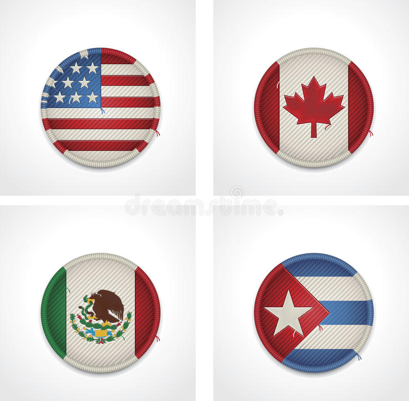 Download Vector Flags Of Countries As Fabric Badges Stock Vector - Image: 27046981