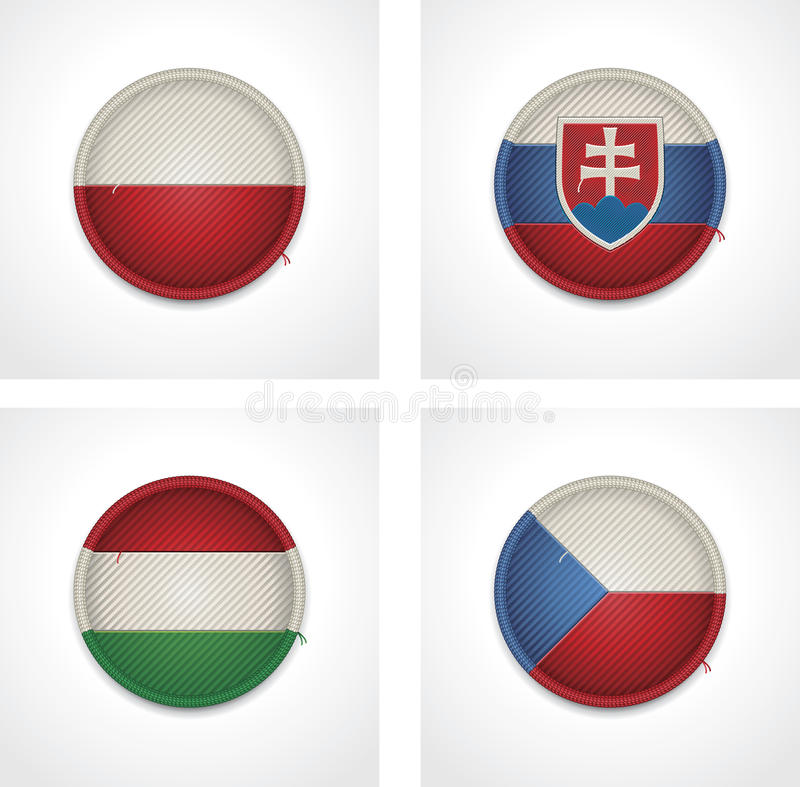Download Vector Flags Of Countries As Fabric Badges Stock Vector - Illustration: 27047453