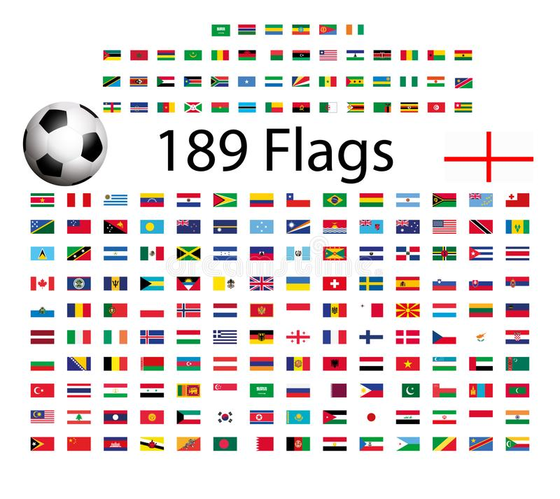 Vector flags of the countries of the world. stock illustration