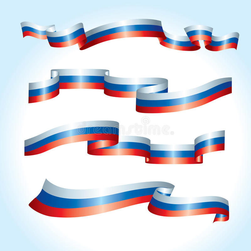 Vector flags. Russia flags. A set of 4 wavy flags stock illustration