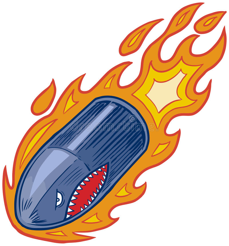 Free Vector Flaming Bullet Or Artillery Shell Mascot With Shark Face Royalty Free Stock Images - 77674509