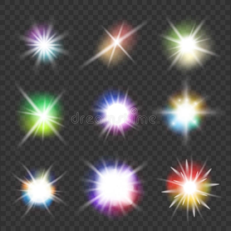Vector flashes with color lights stock illustration