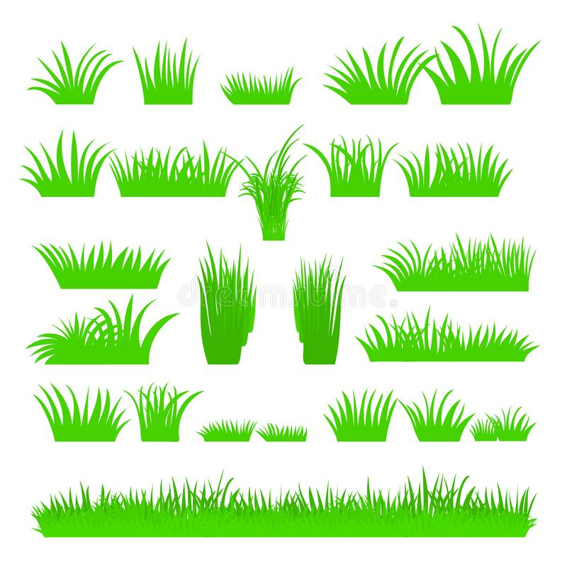 Vector flat abstract green grass set isolated on white background. Spring big fresh grass kit. Tufts of leaves grass. A set of stock illustration