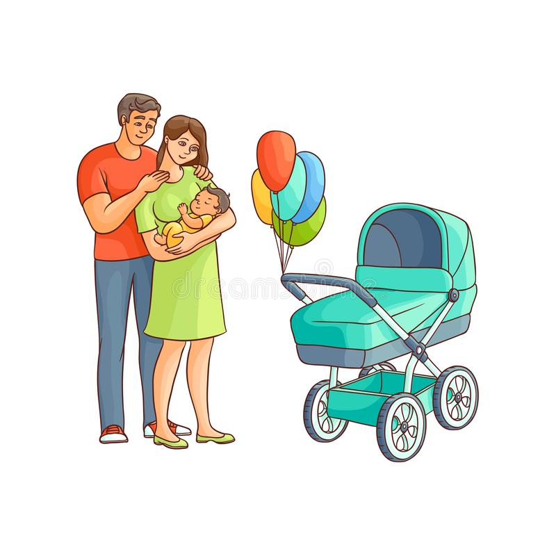 Vector flat adult couple infant, baby stroller. Vector flat adult couple and infant, baby stroller with air balloons. Isolated illustration on a white background stock illustration