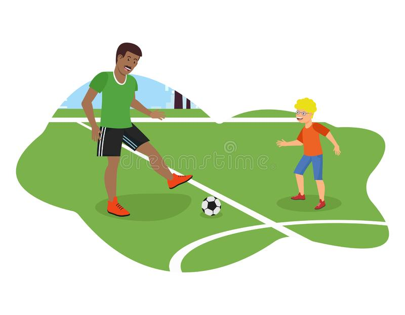 Vector Flat African American Dad Plays Football. Vector Flat African American Dad Plays Football with Son. Runs Across Field Physical Education Lessons Training royalty free illustration
