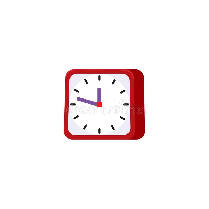 Vector flat analog square table red clock icon vector illustration