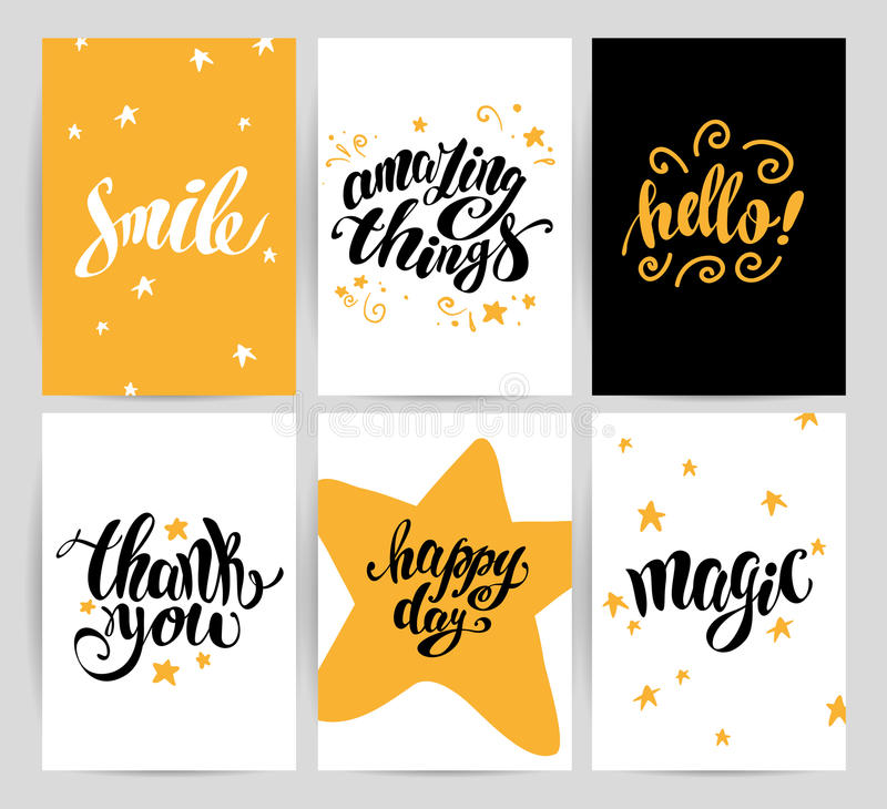 Vector flat artistic creative cards with lettering. stock illustration