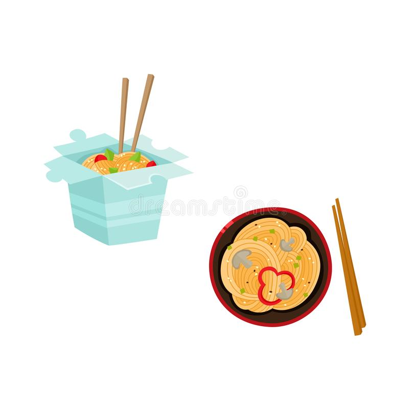 Vector flat asian udon noodles icon set stock illustration