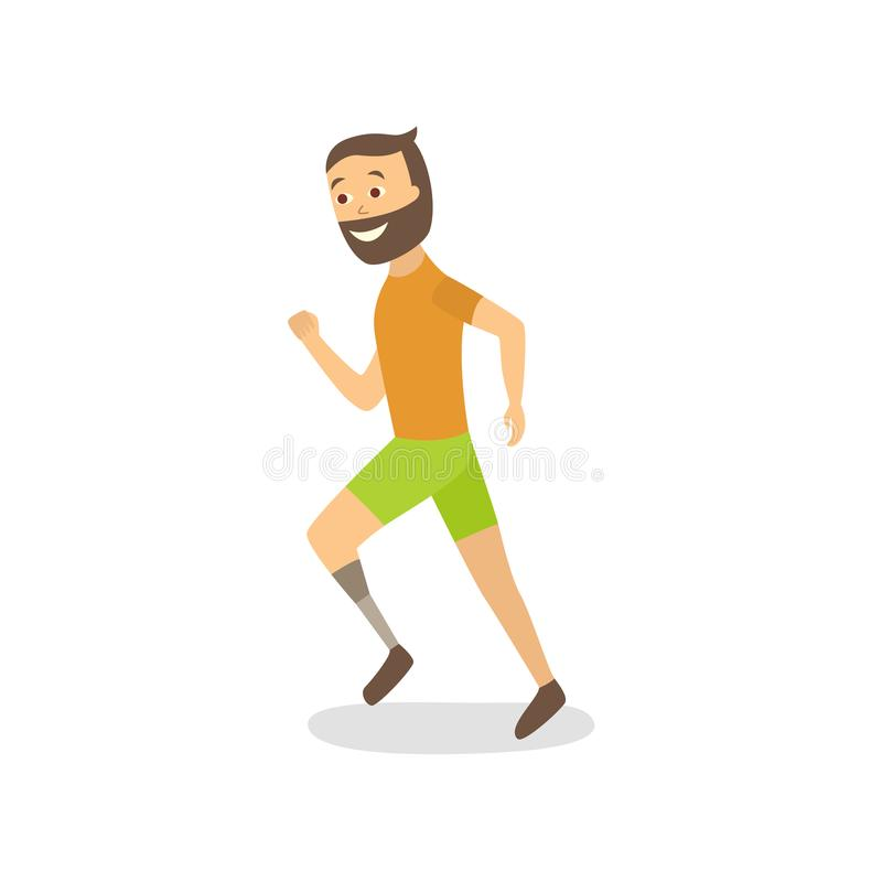 Vector flat athlete running with foot prosthesis vector illustration