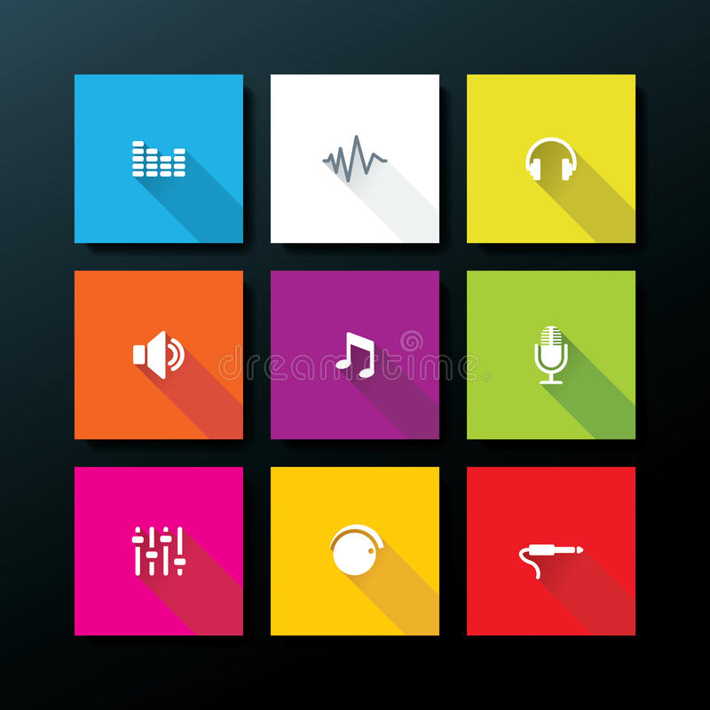 Vector flat audio icon set stock illustration