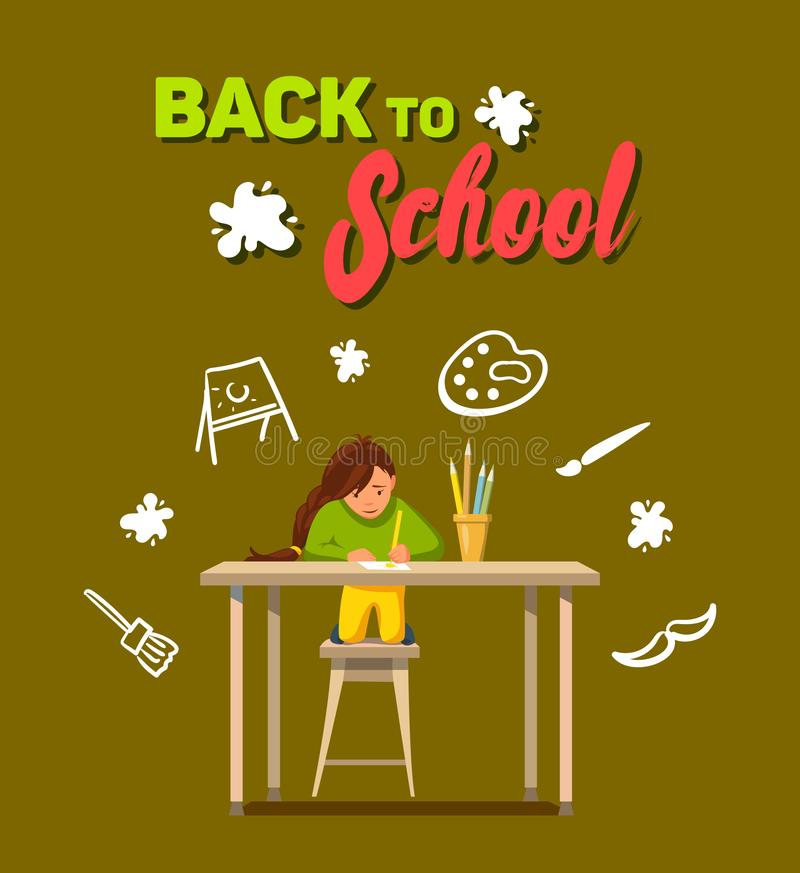 Vector Flat Back School Young Artist Likes Draw. Vector Flat Back School. Young Artist Likes Draw. Happy Make Postcard Parents with Colored Pencils. Piece Paper royalty free illustration