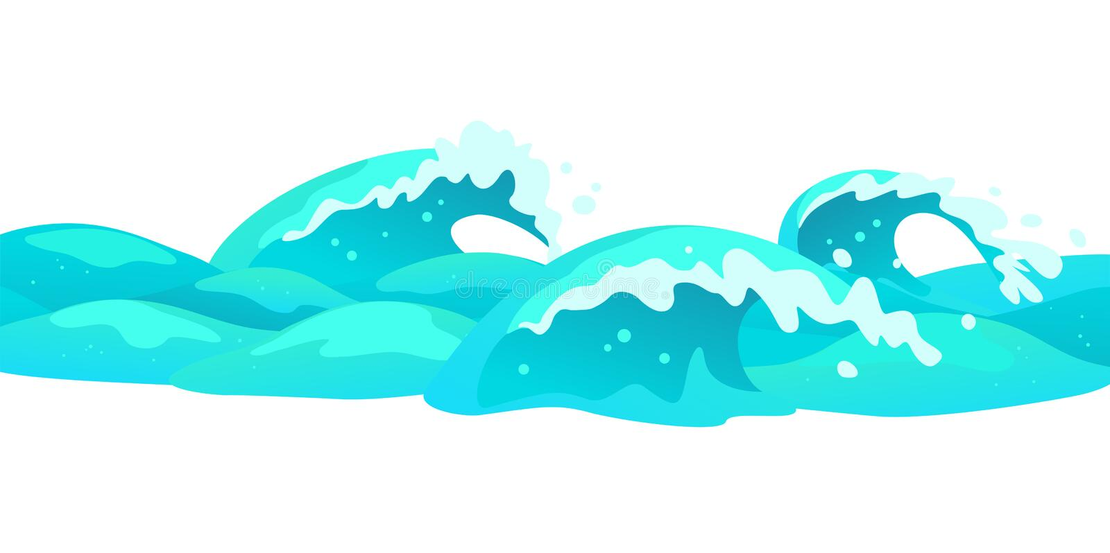 Vector Flat Background Illustration Of Water Waves Isolated On White