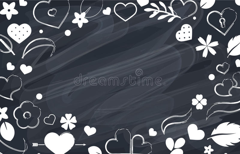 Vector flat background, pattern design with hearts. Vector love frame background with hearts and flowers. Creative design for party invitation, greeting card royalty free illustration