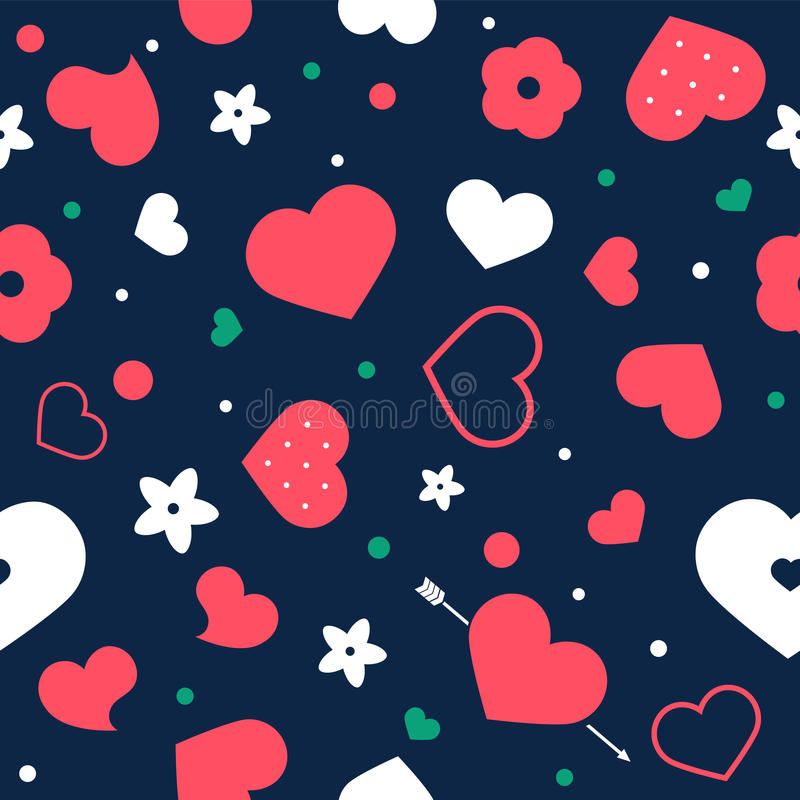 Vector flat background, seamless pattern design with hearts. stock illustration
