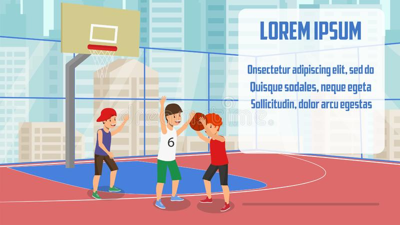 Vector Flat Banner Champions Cup Basketball Game. Children Trying Win Prize Kid in Red Tshirt Throws Basketball Into Ring. Guys from Opposing Team Defending vector illustration