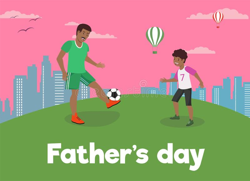 Vector Flat Banner Fathers Day Dad Loves Son. stock illustration