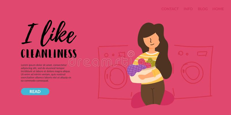 Vector Flat Banner I love cleanliness. Service service for cleaning the houses of apartments rooms. girl takes dirty things to the laundry room picks up clean stock illustration