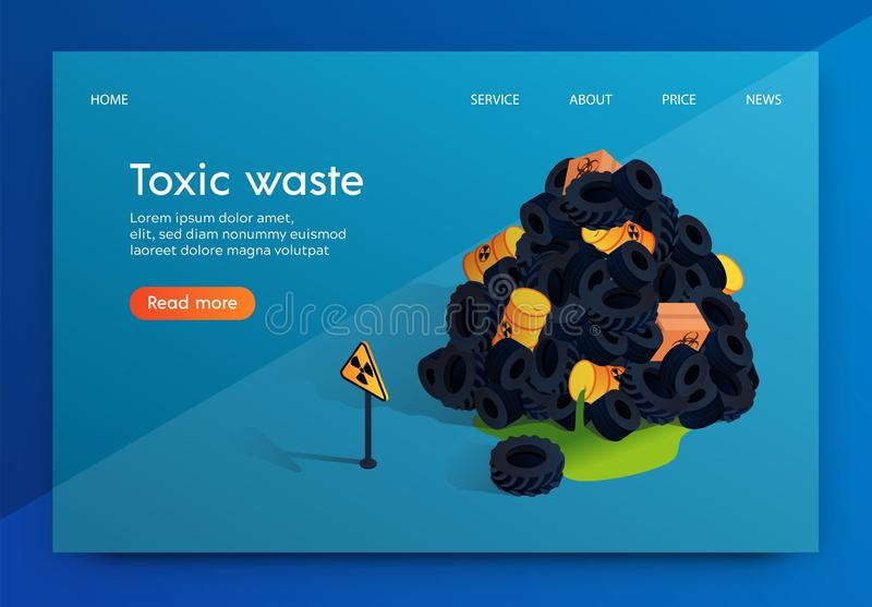 Vector Flat Banner Problem Factory Toxic Waste. vector illustration