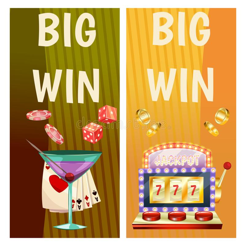 Vector flat banners with casino icons. Big win, slots, roulette. Vector flat banners with casino icons. Big win, slots, roulette stock illustration