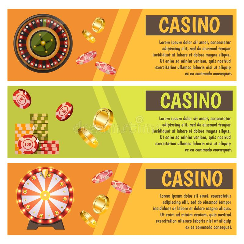 Vector flat banners with casino icons. Big win, slots, roulette. Vector flat banners with casino icons. Big win, slots, roulette vector illustration