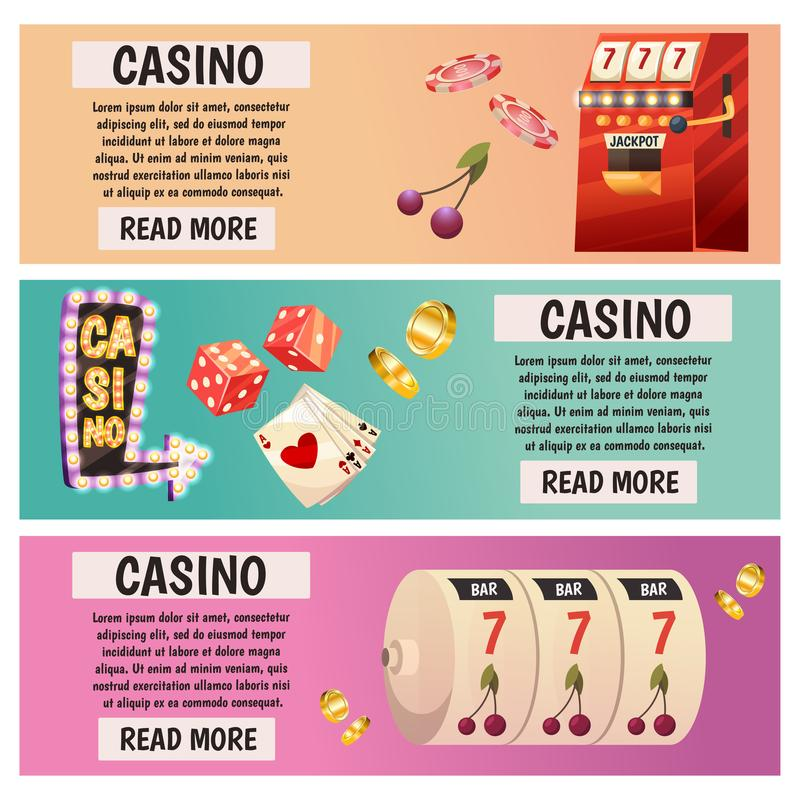 Vector flat banners with casino icons. Big win, slots, roulette. Vector flat banners with casino icons. Big win, slots, roulette royalty free illustration