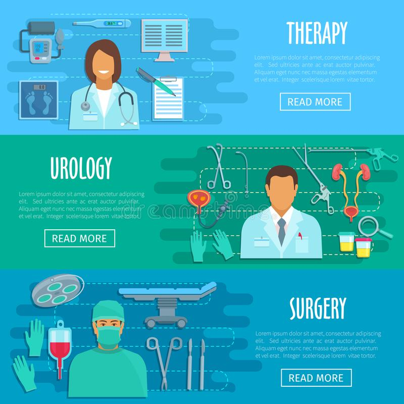Vector flat banners of medical hospital personnel royalty free illustration