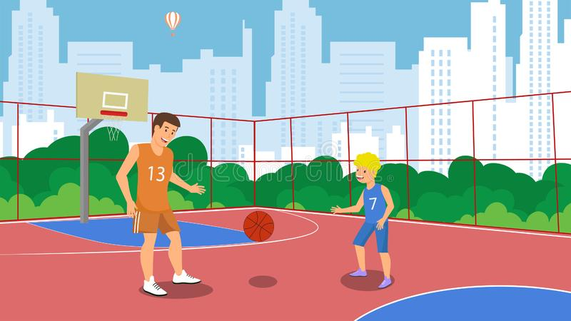 Vector Flat Basketball Court in Park Small Town. High Rise Houses Dad and Son Play Basketball One Team Game. Training Active Lifestyle and Dad Throws Ball Son stock illustration
