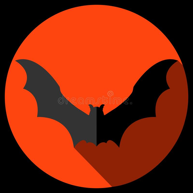 Vector flat bat icon with long shadow. stock images