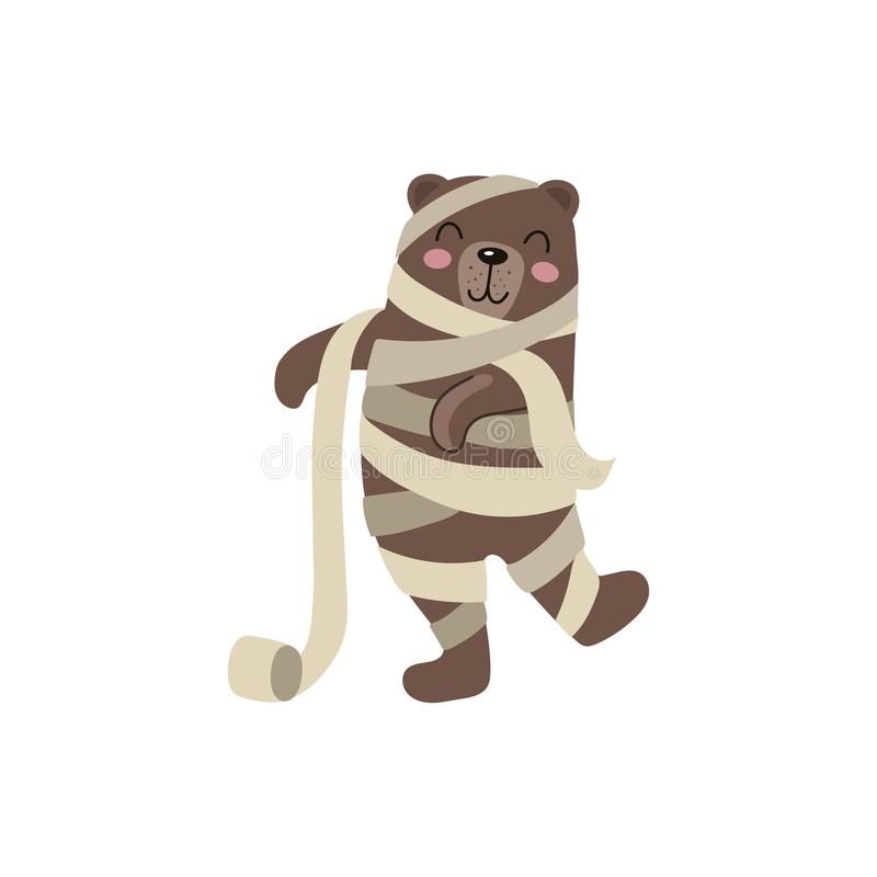 Vector Flat Cartoon Funny Bear Wrapped In Toilet Paper Like Mummy Isolated Illustration On A White Background Fancy Halloween Outfit For An Animal Concept