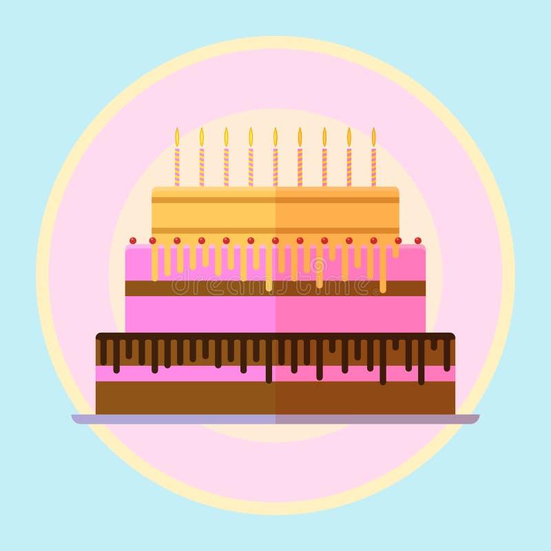 Vector Flat Birthday Cake Stock Vector Illustration Of Design