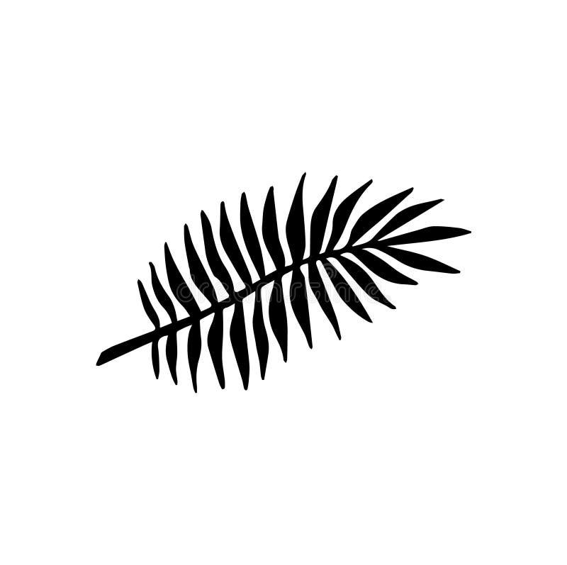 Vector flat black hand drawn palm leaf icon logo royalty free illustration
