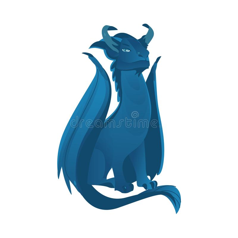 Free Vector Flat Blue Colored Dragon With Wings, Horns Royalty Free Stock Image - 103323916