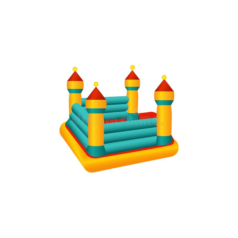 Vector flat bouncy inflatable castle trampoline. Vector flat amusement park concept. Children rubber inflatable playground bouncy castle trampoline with colored royalty free illustration