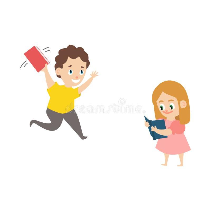 Vector flat boy running with book, girl reading vector illustration