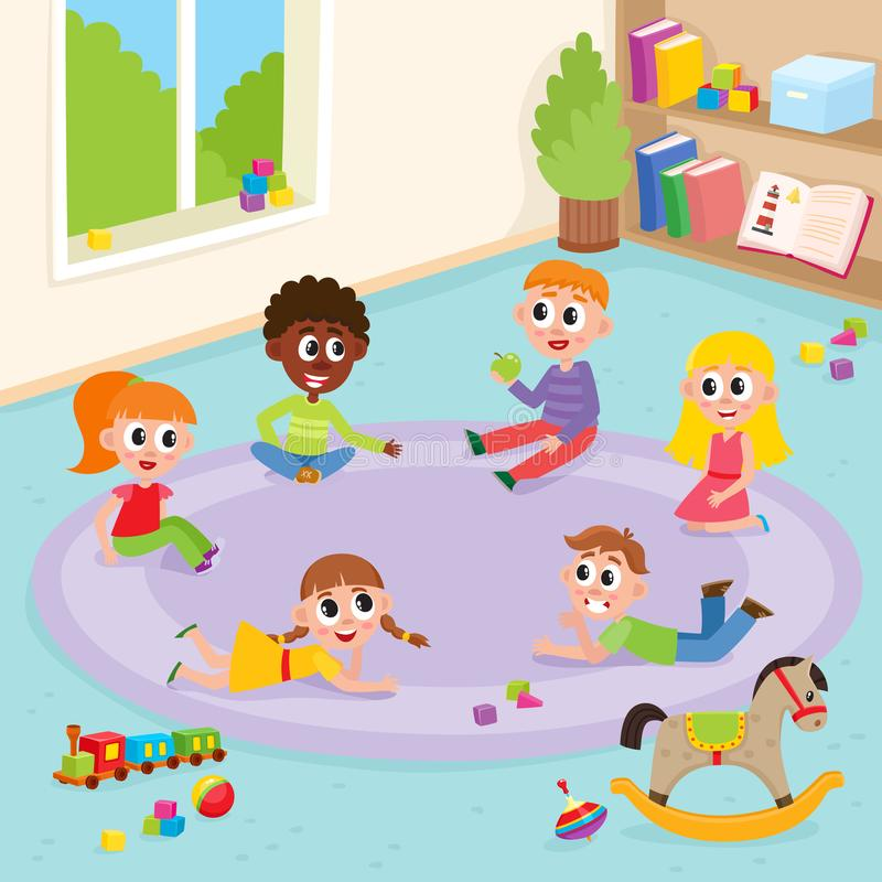 Vector flat boys and girls playing in kindergarten royalty free illustration