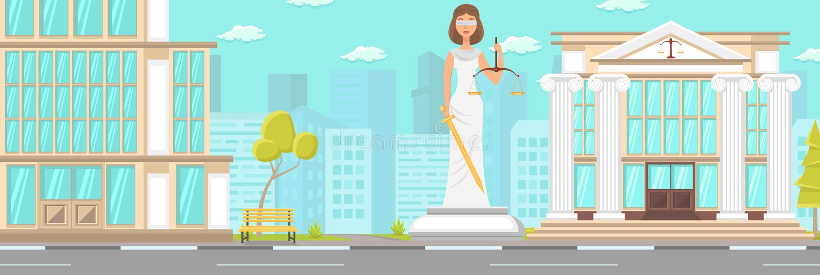 Vector Flat Building Facade Court Statue Downtown. Blindfolded Woman with Sword in Hands with Libra. City Square Modern City Big Monument Next Building and royalty free illustration