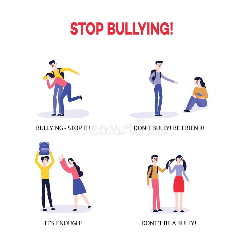 Vector flat bullying kids harassment character set. Vector bullying and teenage harassment concept set. Lonely boys, girls victim sitting holding knees while royalty free illustration