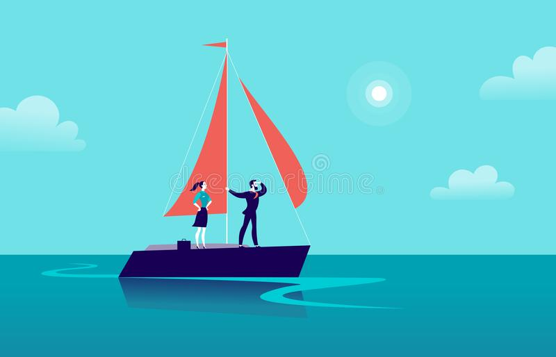 Vector flat business illustration with businessman & lady sailing on ship through ocean on blue clouded sky background. Motivation, achievements, new goals vector illustration