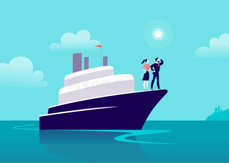 Vector flat business illustration with businessman & lady sailing on ship through ocean towards city on blue clouded sky. Motivation, achievements, new goals vector illustration