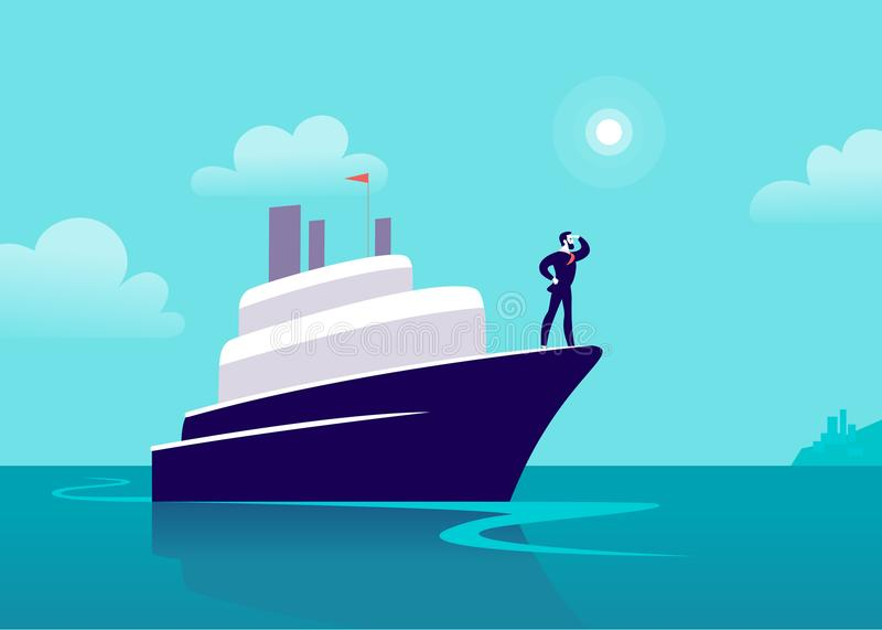 Vector flat business illustration with businessman sailing on ship through ocean towards city on blue clouded sky. Motivation, achievements, new goals stock illustration